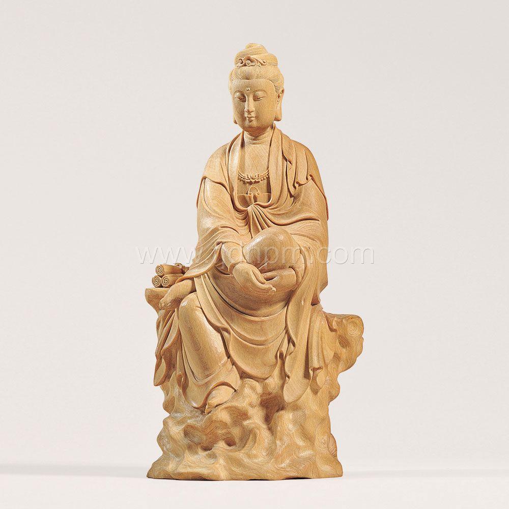 《自在观音》 黄杨木雕
