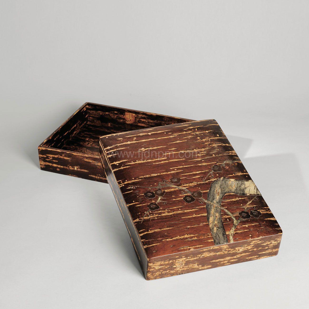 木胎贴画梅花果盒